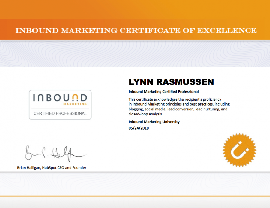 Inbound Marketing Certificate for Lynn Rasmussen