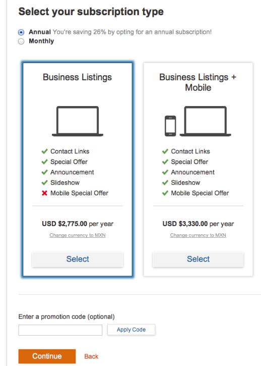 TripAdvisor Business Listing Pricing