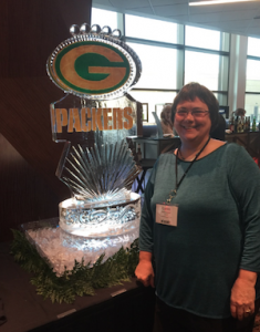 Lynn and Green Bay Packer Ice Sculpture